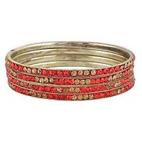 Set Of Four Bangles In Golden And Red (C2RJ0101CGRE2.8)