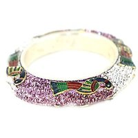 Silver Metal Kada Bangles Made Studded With Light Lavender And White Stones Adorned With A Peacock Design (K10RJ01014PP2PLA2.4)