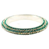Pair Of Stunning Dark Green And Golden Bangles For The Traditional Touch (K16RJ01017LPPDG2.6)