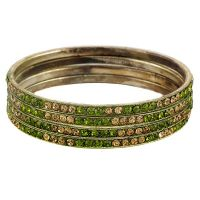 Set Of Four Bangles In Golden And Olive Green (C2RJ0101CGOG2.8)