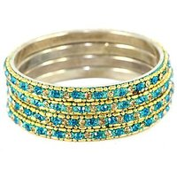 Set Of Shining Golden And Derk Sky Blue Bangles, Perfect For Formal As Well As Informal Occasions (C3RJ0101NCGDSB2.8)
