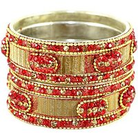A Set Of Shimmering And Shining Silver-Orange Bangles And Kada (C13RJ0101KSOR2.8)