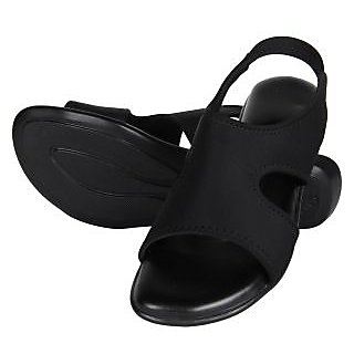 Niremo Women's Cage On Black Faux Leather Sandal