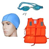 Dolphy Manual Swimming Life Jacket, Goggle, Cap Combo. - 75768836