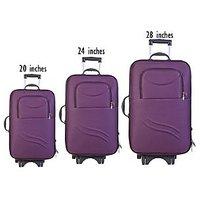 Caris Double Shell Set Of 3 Trolley Bag Purple