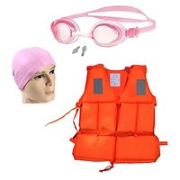 Dolphy Manual Swimming Life Jacket, Goggle, Cap Combo.