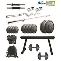 150 KG BODY MAXX HOME GYM PACKAGE + 2D/RODS + 3 FT EZ BAR + 5 FT BAR +FLAT BENCH