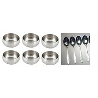 Homescapes 12 Pc. Stainless Steel Multi Purpose Bulging Serving Bowl & Spoon Set