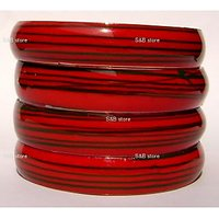 Circular Green Strip  Hand Crafted Red  Glass Bangles/kara (A-109)