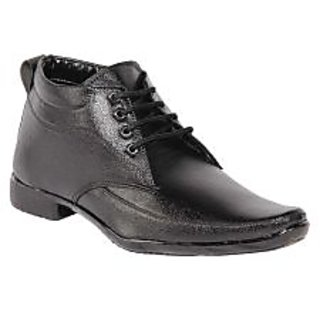 Bhavya Collection Men's Synthetic Leather Formal Laces Shoes BTM-155-Black