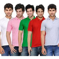TSX Exquisite Cotton Blend Multi Color Polo T-Shirt Pack Of 5 (401)