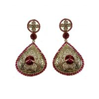 Asian Pearls & Jewels Silver And Pink Fashion Earrings