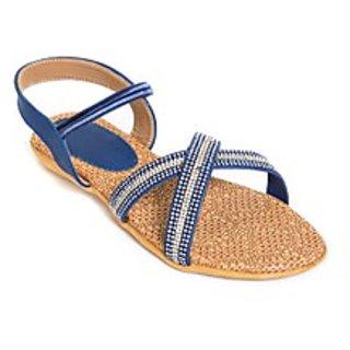 Versiliana Women's Blue Flats Sandal