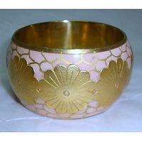 Bangle Metallic Flower Handcrafted Metal Painted