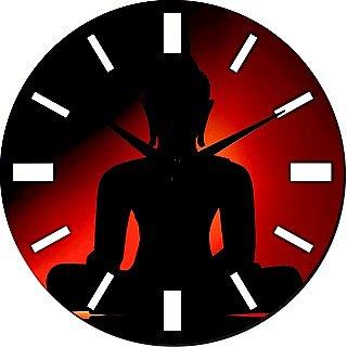 Quartz Mesleep Buddha Wall Clocks In Red And Black Shade