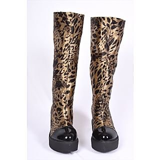 Leopard Print Knee-high Wedges, Women Knee High Boots.