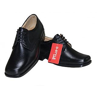 D Style Men's Leather Simple Black Formal Shoes
