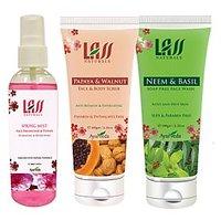 Lass Naturals Neem And Basil Face Wash, Papaya Walnut Scrub And Spring Mist Face