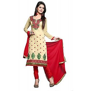 Krizel Krazzy beige Cambric cotton Designer embroidered salwar suit dress materi