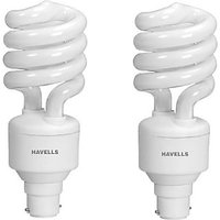 Havells T3 Spiral B-22 Ww Hpf 23 W Cfl Bulb (White, Pack Of 2)