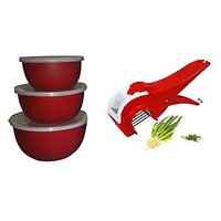 Euro Losange Heat & Serve Bowl Set Of 3 (microwave Safe) With Free Ultimate Cute