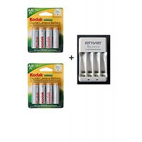 KODAK 2100 MAH 8 BATTERIES WITH ENVIE AA OR AAA BATTERY CHARGER