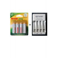 KODAK 2500 MAH 4 BATTERIES WITH ENVIE AA OR AAA BATTERY CHARGER