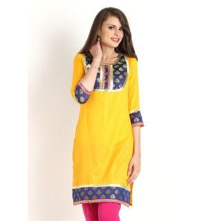 Aaboli Yellow Jacquard Short Sleeve Straight Long Kurta - 2001210-YELLOW