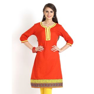 Aaboli Orange Dobby Short Sleeve Straight Long Kurta - 2001250-ORANGE
