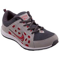 Just Go Men Durable Fancy Grey Red Sports Shoes 634