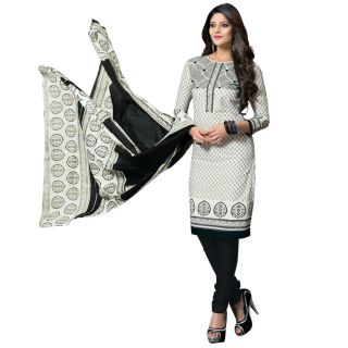 DFOLKS Womens Cotton Printed White Colour Dress Material (Unstiched) DF0011