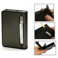 2 In 1 Automatic Cigarette Holder Dispenser Case And Refillabe Gas Lighter