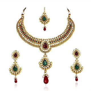 Kashvi Brass Necklace-Earring-Maang Tika Set NF22524RG