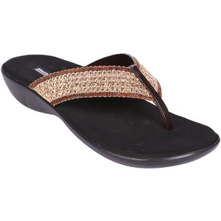 Stylish Embroidered Women's Brown Slip-on Heels