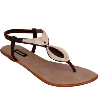 Stylish Metallic Women's Brown Back Strap Flats