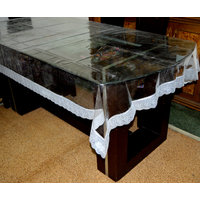 PVC Table Cover Transparent Silver Lace 4 Seater (SPITRPFLCS4860)
