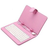 "7"" USB Keyboard PU Leather Case Cover For Android Tablet PC Pink"