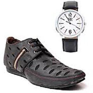 Royal Shoemart Laced Shoes With Mens  Watch
