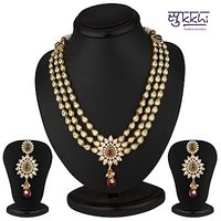 Sukkhi Stunning Hearts Gold Plated Cz Three String Rodo Light Necklace Set