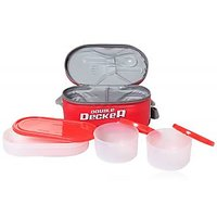 Milton Double Decker 3 Containers Air-tight Lunch Box Includes Carry Bag Red Color
