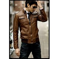 P012 - Italiano Tucci Vintage Slim Fit Semi Leather Jacket Men Jacket For Men