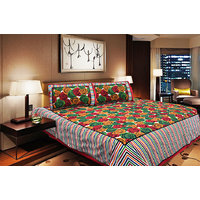 Unnati Double Bed Cotton Bed Sheet With Two Pillow Covers (RA13093)