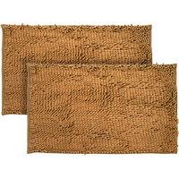 Just Linen Pair Of Chenille Pom Pom Antiskid Rust Brown Floor Mats