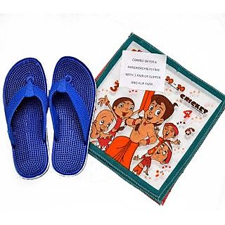 SURYA SLIPPER COMBO OFFER(BLUE SLIPPER WITH HANDKERCHIEF)