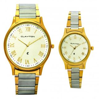 Clayton Two Tone Pair Watch For Couples With Attractive Gift Pack