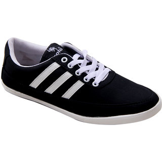 Vonc Black With White Side Stripes Canvas Shoes
