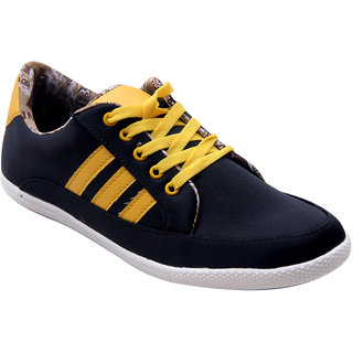 Vonc Black With Yellow Stripes Casual Shoes