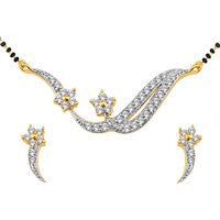 Spargz Cz Diamond Studded Golden Mangalsutra Earring Set For Women  (Design1)