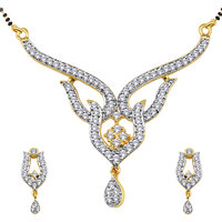 Spargz Cz Diamond Studded Golden Mangalsutra Earring Set For Women  (Design2)