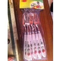 Set Of 6 Fork Stainless Steel With Beautiful Plastic Grip